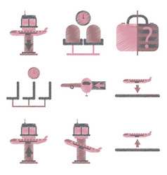 Set of flat icons in shading style airport service vector