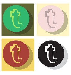 set of flat tumblr social media icons vector image