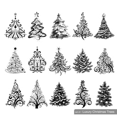 Set of Luxury Christmas Trees vector