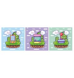 Set of retro videogames cards vector