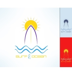 Set of surfing emblems with uneven line vector