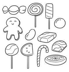 set of sweets and candies vector image