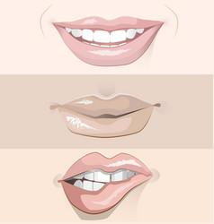 set three different lips vector image