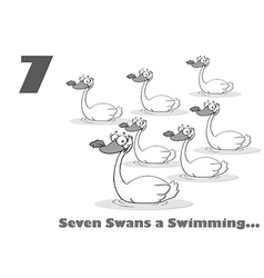 Seven swans swimming cartoon vector image