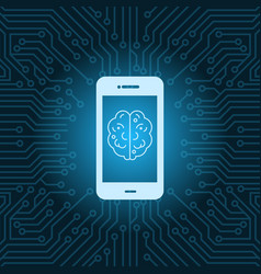 Smart phone with brain image icon over blue vector