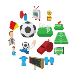 soccer cartoon icons set vector image