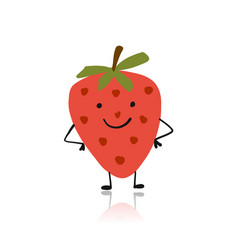 Strawberry cute character for your design vector