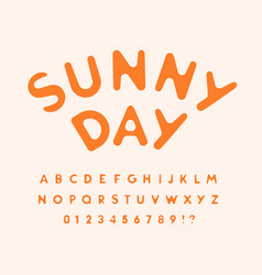 Sunny letters and numbers set melted from hot sun vector