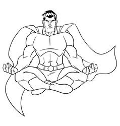 superhero meditating line art vector image