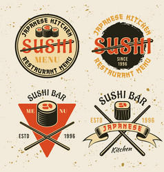 Sushi japanese kitchen emblems vector