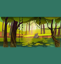 Swamp or lake with water lilies in forest nature vector