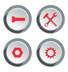 Tool icon set Screwdriver cogwheel pliers vector image