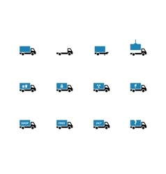 Truck and transportation duotone icons on white vector image