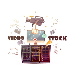 Video Microstock Industry Concept Retro vector