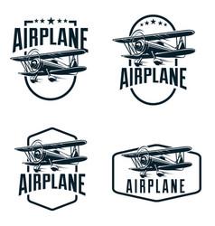 vintage air plane logo template vector image