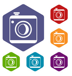 Vintage photo camera icons set vector