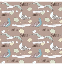 Vintage Seagull Pattern Background vector