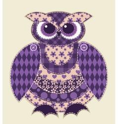 Violet patchwork owl vector image