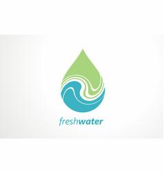 Water logo design ideas fresh green mountain vector
