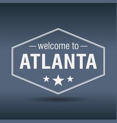 Welcome to atlanta hexagonal white vintage label vector