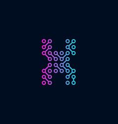 X circuit technology letter logo icon design vector