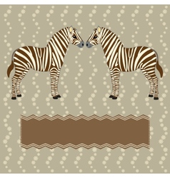Zebra card with flower stripes vector image