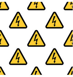 high voltage sign seamless pattern on white vector image vector image