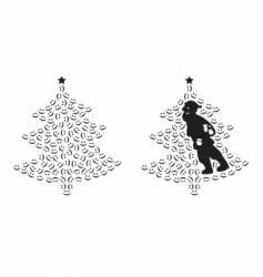 santa claus and smiling tree vector image vector image