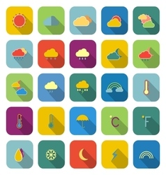 Weather color icons with long shadow vector image