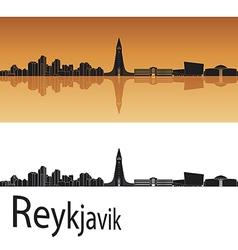 Reykjavik skyline in orange background vector image vector image