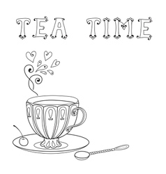 with a cup of tea and an inscription vector image vector image