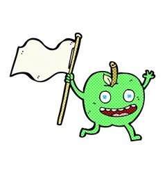 comic cartoon apple with flag vector image vector image
