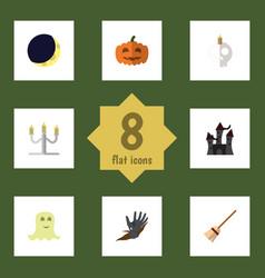 flat icon celebrate set of broom cranium zombie vector image vector image