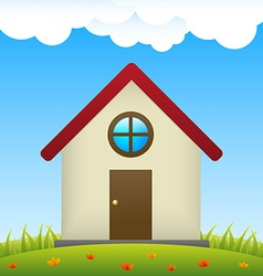 House on meadow with flowers vector