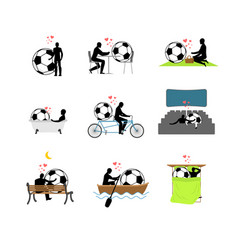lover soccer set man and football ball in movie vector image vector image