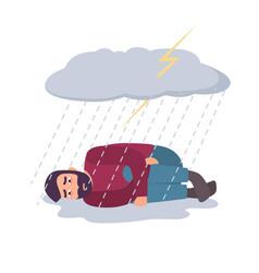 Man in depression concept sad and depressed guy vector