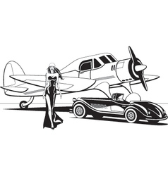 Movie star with retro plane and classic car vector