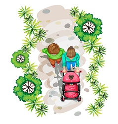 A topview of a family strolling at the park vector image