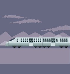 color poster mountain landscape with modern train vector image