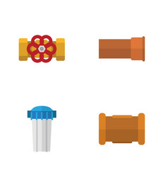flat icon sanitary set of cast pump valve pipe vector image vector image