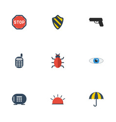 Flat icons parasol walkie-talkie shield and vector