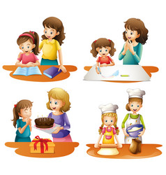 four activities of mother and daughter vector image vector image