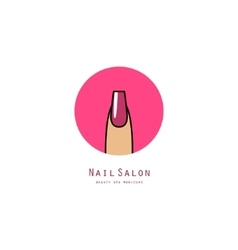 Pink square nail on a finger vector image
