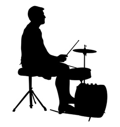 Silhouette musician drummer on white background vector image vector image