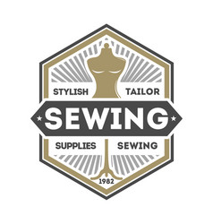 tailor sewing studio label with dummy vector image vector image