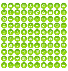 100 business group icons set green circle vector image