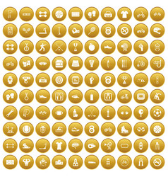 100 sport icons set gold vector image