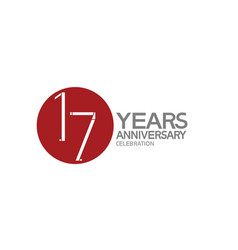 17 years anniversary logotype design with big red vector