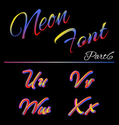 3d neon led font liquid matte rounded type tube vector image