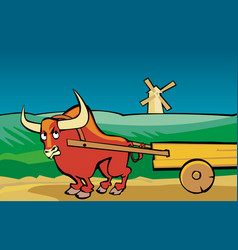 Angry bull drags the cart along the road vector